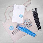 Товары для конференции выставки с логотипом HP: сумки, майки, ланъярды